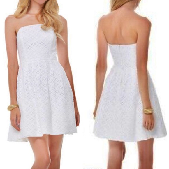 Lilly Pulitzer white lace CAITLIN strapless dress